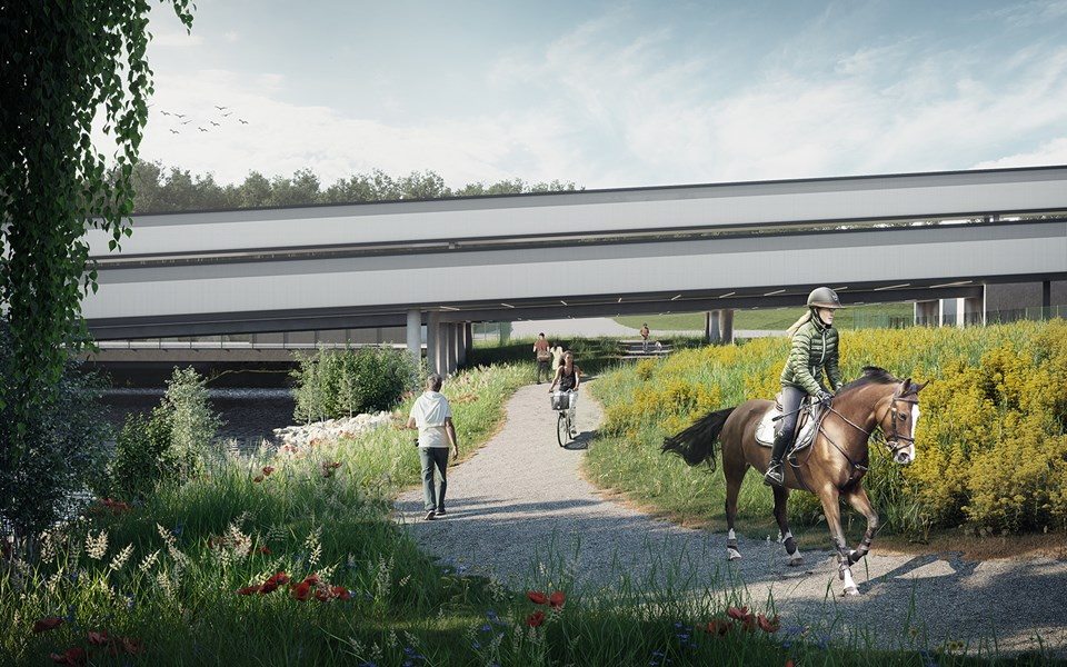 Lövstaverkets gångtunnel under transportbanden.