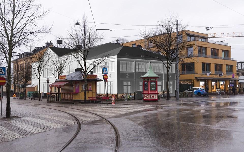 Fotomontage med 3d-modell från korsningen Djurgårdsvägen/ Allmänna gränd.